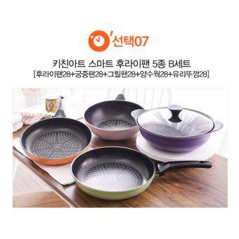 Harga Kitchen Art Korean Best-Selling 5 Ply Diamond Coating Smart Stir Frying Pan and Wok Set B.
