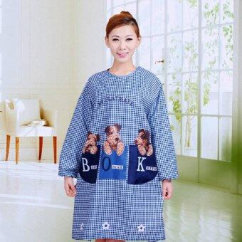 Harga Adult 3-Puppy Pattern Waterproof Apron with Long Sleeves for Kitchen Cooking & Art Painting (Blue)