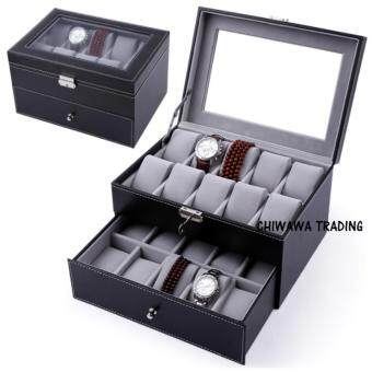 Harga 100% Premium【 20 Slots 】PU Leather Watch Display Storage Box Case (Black)
