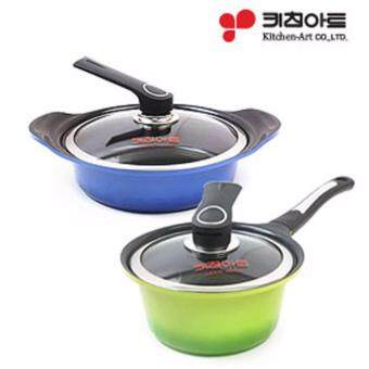 Harga [Kitchen Art] Metal mold casting Ceramic Pot 2 set(18cm + 24cm) /Made in Korea/ cooking pots / Korea food / frying pan / wok / happy call