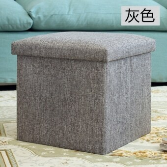 Harga Anjo Foldable Storage Ottoman Fabric Foot Stool Seat Footrest Folding Storage Box (Grey)