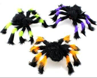 Harga ZigZagZong 1pcs Spooky Halloween Hairy Furry Spider Poseable Legs Web Decoration Props Toys(Black)
