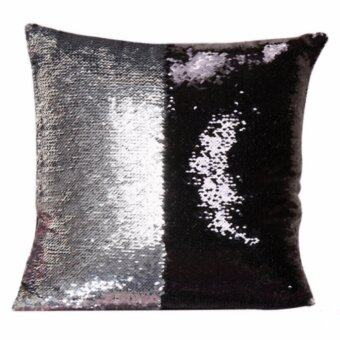 Harga Magic Reversible Mermaid Sequin Cushion Glitter Cover Throw Pillow Case Two - color sequins pillow sets of embroidered, Silver&Black