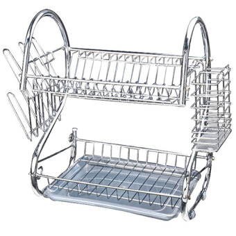 Harga Stainless Steel Double Dish Drainer (Silver) SS-008