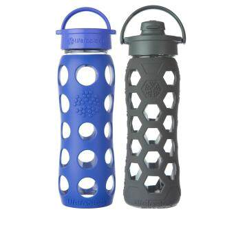 Harga Lifefactory Glass Bottle - Bundle - 22oz (650ml) Classic Cap (Cobalt) & 22oz (650ml) Flip Cap (Carbon Hex)