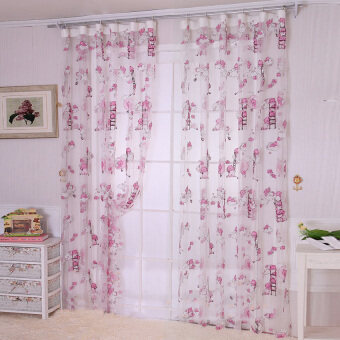 Harga 1M*2M Children bear Pattern curtain yarn Printed Organdy Net curtains-