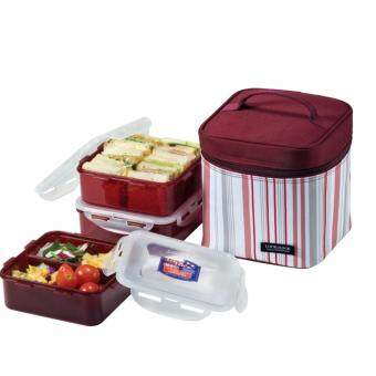 Harga Lock&Lock Lunch Box Set with Insulated Stripe Bag, 3-Pieces