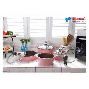 Harga Kitchen Art Korean Best-Selling New Opera Compact Ceramic Coating 4 Pots Set - Pink Edition. 18 cm + 20 cm + 24 cm + 24 cm