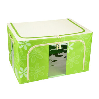 Harga 66L Large Oxford Cloth Dual Opening Foldable Spring Blossom Storage Box(Green)