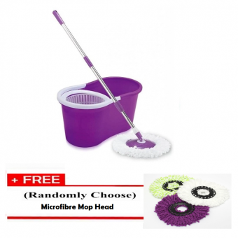 Harga Portable Spin Mop Cleaner with 2 Mop Heads [PURPLE] + Free 1 pc. Replacement Mop Cloth