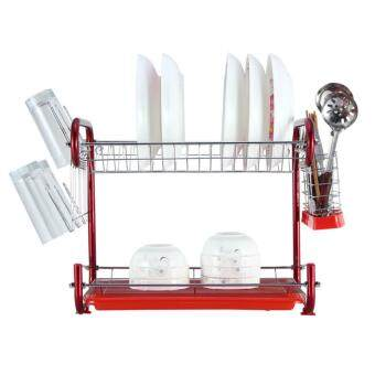 Harga Unique C-shape Rail Double Layers Stainless Steel Dish Drainer