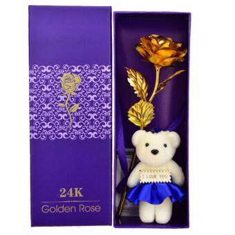 Harga Hequ Good Factory Direct 24k Gold Rose Artificial Flower Valentine s Day Bouquet of Mother Blue