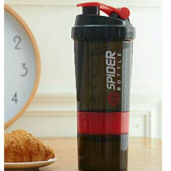 Harga 3 in 1 protein shaker bottle sport gym fitness accessories drinkware blender mixer (red)