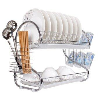 Harga S Shape Stainless Steel Double Dish Drainer - Silver