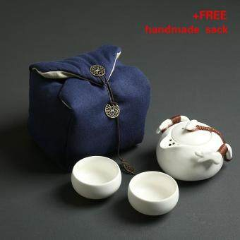 Harga Tea Sets Chinese Kung Fu Tea Set Ceramic Teapot Tea Cup Portable Travel Tea Set(White)