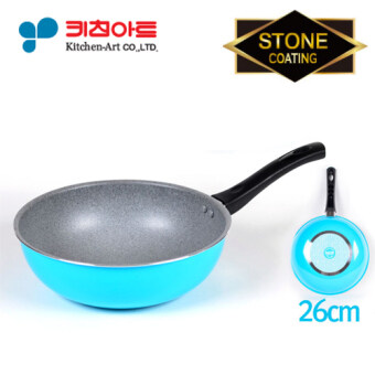 Harga [ Kitchen Art ] Stone Bable Coating Wok 26cm / Excellent Non-Stick / 6-Layer Coating / Korea Number one Fry Pan/Grill pan / skillet