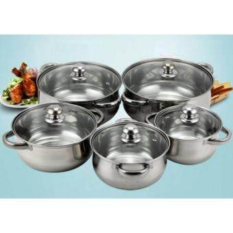 Harga Freemarket 10pcs Stainless Steel Pot with Glass Lid Cover