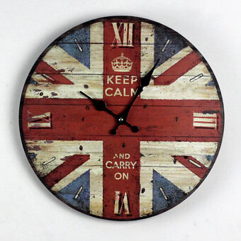 Harga British flag painted wood wall clock