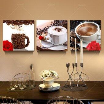 Harga 3 Panel Abstract Printed Still Life Coffee Painting Canvas Art Picture Decoration Kitchen Paintings Unframed