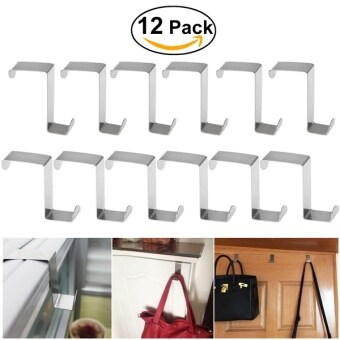 Harga BESTOMZ 12pcs Stainless Steel Z-Shaped Hook for Kitchen Cabinet Cloth Towel Bag Hanger Space Saving
