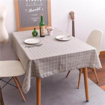 Harga 100x140cm Europe Simple Plaid Table Cloth Cotton Linen Print Rectangular Dinning Tablecloths Table Cover Home Decor