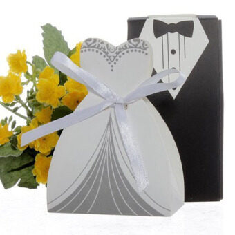 Harga 100pcs Party Wedding Favor Dress and Tuxedo Bride and Candy Box (White/Black)