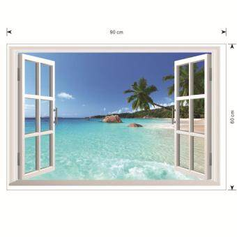 Harga 1430 Hawaii Style 3D Artificial Window Room Wallpaper Decals