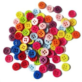 Harga Round Plastic Buttons 9mm 4 holes - mixed colours - 50pcs