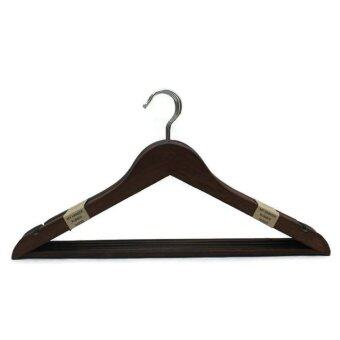 Harga Rubberwood Wooden Hanger with Bar- Mahogany Colour(10 pcs)-MH