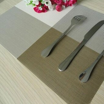 Harga 6pc Placemats Coasters Waterproof Insulation Mat Kitchen Dining Table (Khaki)