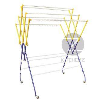 Harga Kithchen Z Cloth Hanger Drying Rack RB640Y (6+4 Bars) Powder Coat Anti-Rust Paint