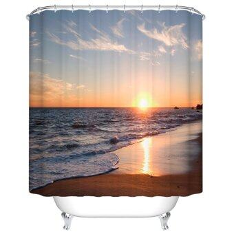 Harga Bathroom Product Sundown Beach Customized Polyester Fabric Waterproof Decorative Shower Curtains Bath Curtain