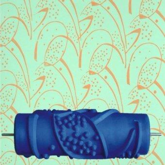 Harga 5.9 inch DIY Rubber Empaistic Pattern Painting Roller for Wall Decration (Blue)