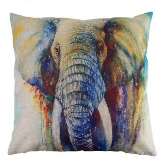 Harga Creative Color Elephant Pattern Cotton Pillow Cushion Cover