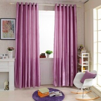 Harga 2PCS 1M*2.5M Grommet Blackout Curtain Linings Panel Solid Bright Colored Window Curtains (Purple)