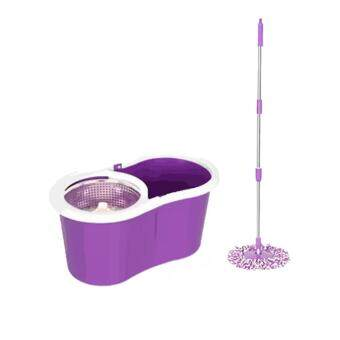 Harga (Purple) Deluxe Magic Spin Mop Stainless Steel Easy Press Mop Bucket Set + 2 Mop Cloth