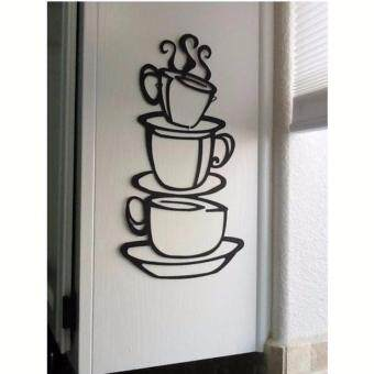 Harga 3 coffee cups creative wall art decal removable vinyl wall sticker DIY home decor wall art kitchen wall paper house decoration#2367
