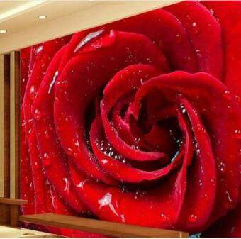 Harga Romatic Red Rose flower Murals Photo Wallpaper 3D Mural Large Wedding Decor Wallcovering paper papel de parede Wall Stickers