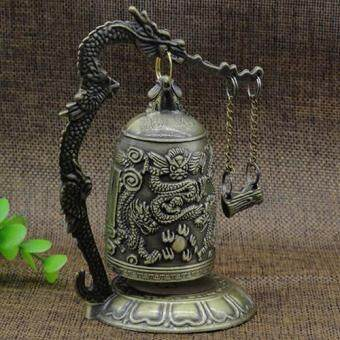 Harga Sanwood Lock Dragon Carved Buddhist Good Luck Bell Geomantic for Meditation Altar