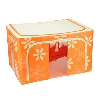 Harga 100L Large Oxford Cloth Dual Opening Foldable Spring Blossom Storage Box(Orange)