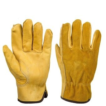 Harga Leather second - tier labor insurance gloves all - skin fingers wear - resistant non - slip garden security supplies