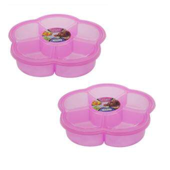 Harga [RAYA] (Set of 2) 27*25*5cm High Quality 2.1L  BPA Free Flowery Candy Biscuits Container (Pink)