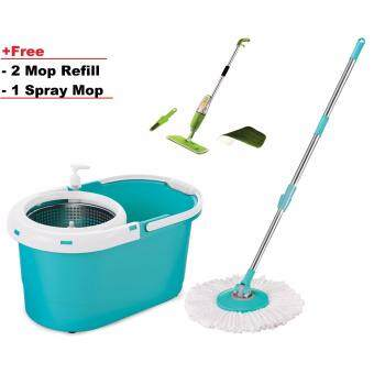 Harga Easy Spin Mop with stainless steel bucket with free 2 mop refill+ 1 wet dry spray mo