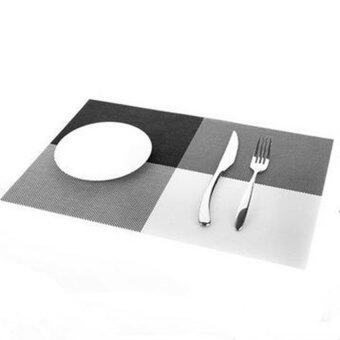 Harga Home Kitchen PVC Dining Table Pad Place Mat Tableware Pad Coaster Coffee Tea Place Mat Kitchen Tool (Black)