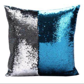 Harga Magic Reversible Mermaid Sequin Cushion Glitter Cover Throw Pillow Case Two - color sequins pillow sets of embroidered, Silver&Lake blue