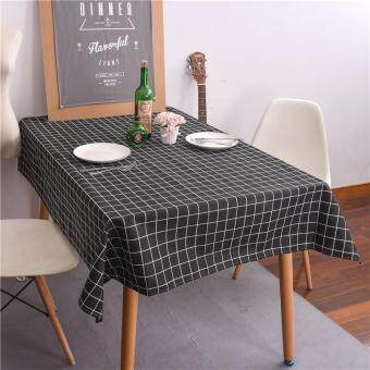 Harga 90x90cm Europe Simple Plaid Table Cloth Cotton Linen Print Rectangular Dinning Tablecloths Table Cover Home Decor
