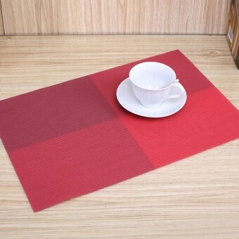 Harga 6pc Placemats Coasters Waterproof Insulation Mat Kitchen Dining Table (Red)
