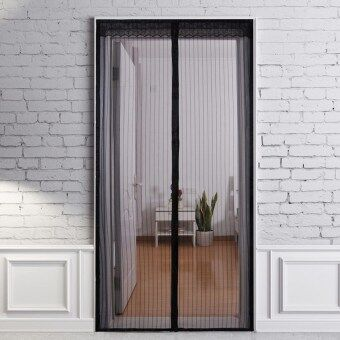 Harga Black 210 X 100cm Hands Free Magic Mesh Screen Net Door with Magnets Anti Mosquito Window Curtain