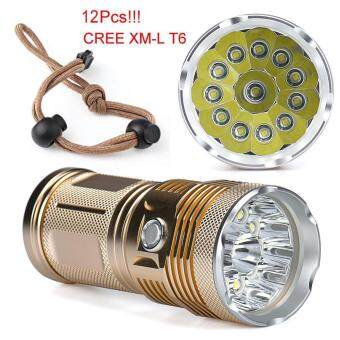 Harga 30000LM 12 x CREE XM-L T6 LED Flashlight Torch 4x 18650 Hunting Light Lamp Lot