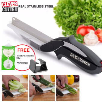 Harga PRADO Clever Cutter Knife Cutting Board Scissors Real Stainless Steel